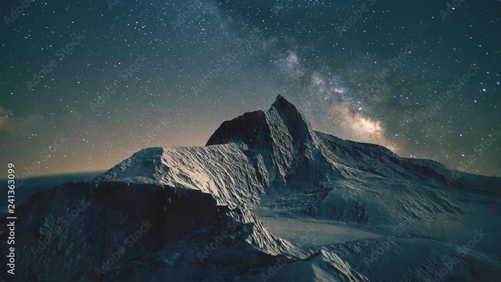 Fototapety, obrazy: Mountain scene at night
