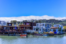 Colorful Houseboats Floating On Water