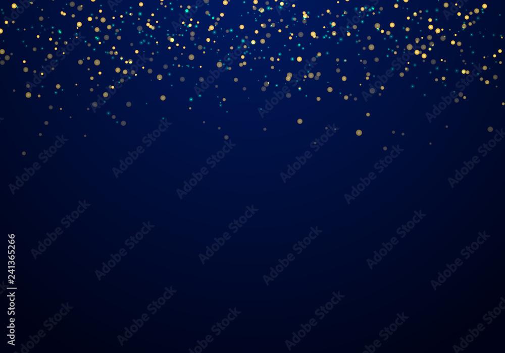 Fototapeta Abstract falling golden glitter lights texture on a dark blue background with lighting.