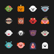 Circle and cute ghost icons illustration. flat design vector graphic style.