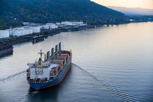 Large Cargo Ship Sails Along T...