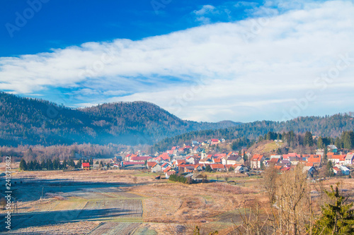 Beautiful countryside landscape of town of Lokve in Gorski kotar, Croatia, in winter, panoramic view