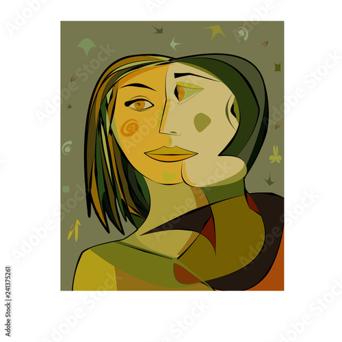 Colorful abstract background, cubism art style,woman and friend