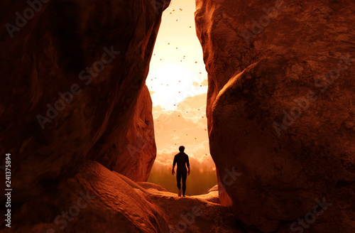 Man walking to the light and exit the cave,3d illustration