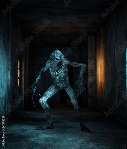 Obraz na plátně Scary monster creatures in abandoned building,3d illustration