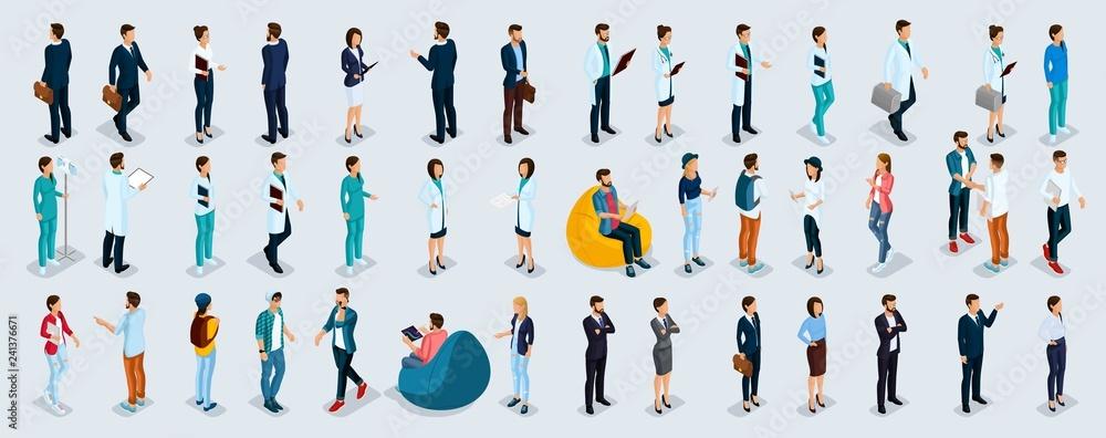 Fototapeta Isometric Set Businessmen and Businesswomen