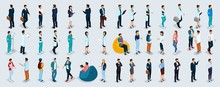 Isometric Set Businessmen And Businesswomen