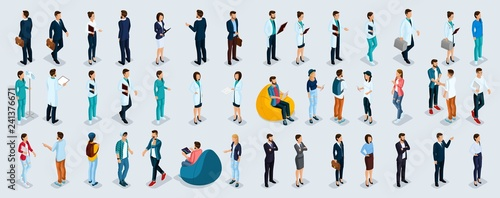 Obraz Isometric Set Businessmen and Businesswomen - fototapety do salonu