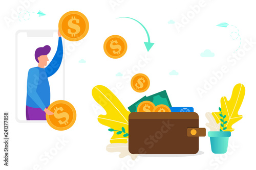 Money Transfer Between Smartphone And Wallet Concept Of Giving Receiving Online Payment Turning Into Cash Vector Ilration For Web