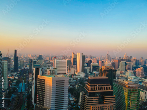 Wall Murals Toronto Industrial office building sunrise colorful sky aerial view