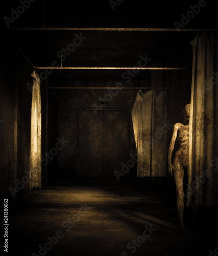 Photo  Ghost woman in abandoned building,3d illustration