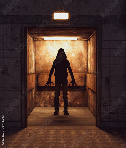 Fotografie, Obraz  Scary monster in an elevator,3d rendering for book cover or book illustration