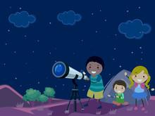 Stickman Kids Night Star Gazing Illustration