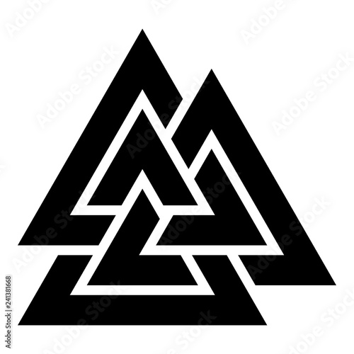 Photo  Valknut sign symblol icon black color vector illustration flat style image