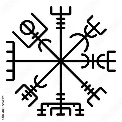 Vegvisir runic compass galdrastav Navigation compass symbol icon black color vec Canvas Print