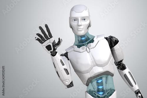 Photo Greeting robot waves his hand