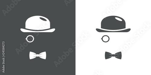 Fototapeta Icono plano con bombín monóculo y corbata de lazo en gris y blanco