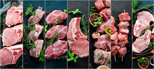 Photo Collage Raw Meat And Steak. Top View.
