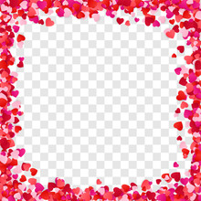 Color Paper Heart Frame Background. Heart Frame With Space For Text. Design For Valentine's Day Or Weddings And Mother's Day. Vector Illustration Isolated On Transparent Background