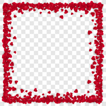 Red Paper Heart Frame Background. Heart Frame With Space For Text. Vector Illustration Isolated On Transparent Background