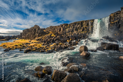 Thingvellir waterfall Iceland. Autumn landscape