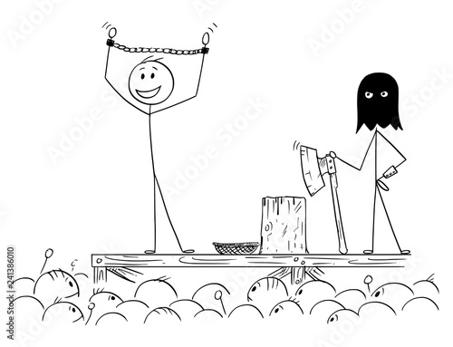 Fotografía  Cartoon stick drawing conceptual illustration of man enjoying the attention of crowd while waiting on his own execution
