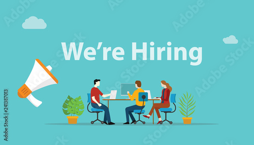 Fotografía  we are hiring recruitment concept with megaphone and team employee working toget