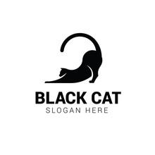 Cat Stretching Logo Template I...