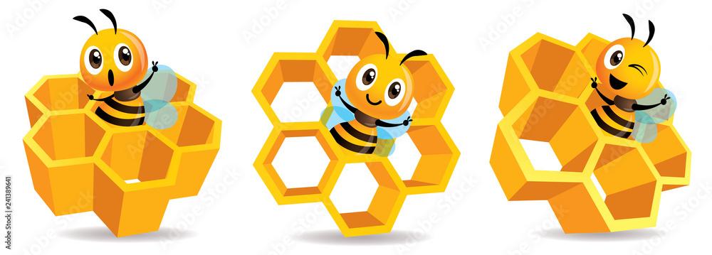 Fototapeta Cartoon cute bee mascot with honey cells set. Cartoon cute bee with big Honey Cells. Honeycomb vector illustration isolated