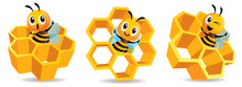 Cartoon Cute Bee Mascot With H...