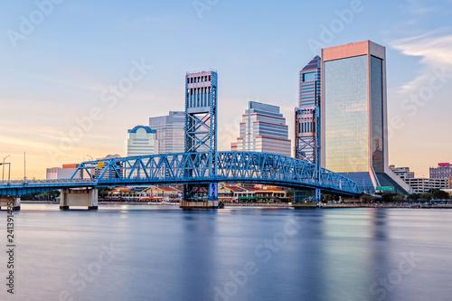 Skyline of Jacksonville, FL and Main Street Bridge - 241391495
