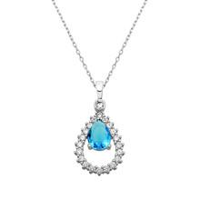 Drop Shape Necklace With Zircon And Drop Aquamarine Gemstone