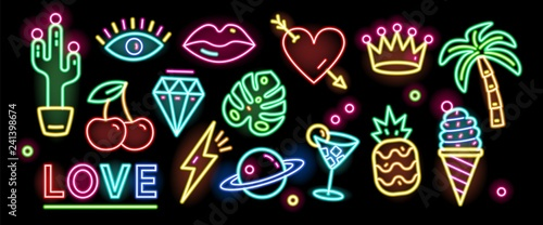 Obraz Bundle of symbols, signs or signboards glowing with colorful neon light isolated on black background. Collection of trendy design elements or decorations. Bright colored vector illustration. - fototapety do salonu