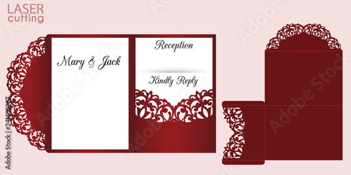 Fototapeta Laser Cut Wedding Invitation Card Template With Lace Pattern Vector Die Cut Tri Fold Pocket Envelope With Swirls Wedding Lace Invitation
