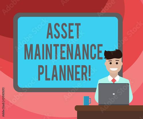 Valokuvatapetti Text sign showing Asset Maintenance Planner