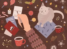 Christmas Card Template With Hand Holding Pen And Writing On Holiday Postcards, Cute Cat, Cup Of Coffee, Sweets, Festive Seasonal Decorations. Colorful Vector Illustration In Flat Cartoon Style.