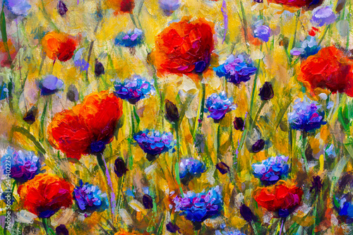 Poster Kaki painting flower modern colorful wild flowers canvas abstract close paint impasto oil - Impressionism modern oil paintings fragment