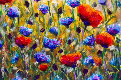 Poster Kaki Wild flower meadow with poppies and Cornflowers. Oil painting. Art print decor. Acrylic artwork. Big size poster. Watercolor drawing. Modern style fine art. Beautiful red blue flowers landscape.