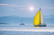 Sailing Boat With Yellow Spinn...