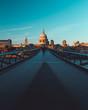 canvas print picture - Millennium Bridge St Paul's Cathedral on modern London city skyline blue sky