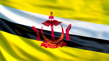 Brunei Flag. Waving Flag Of Brunei 3d Illustration