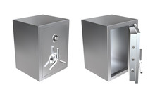 3D Realistic Metal Safe With Opened And Closed Door. Armored Box Vector Illustration.