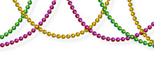 Mardi Gras Beads In Traditional Colors. Decorative Glossy Realistic Elements. Isolated On White Background.Vector Illustration