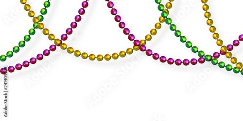 Mardi Gras beads in traditional colors Wallpaper Mural
