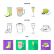 Isolated object of drink and bar sign. Set of drink and party vector icon for stock.