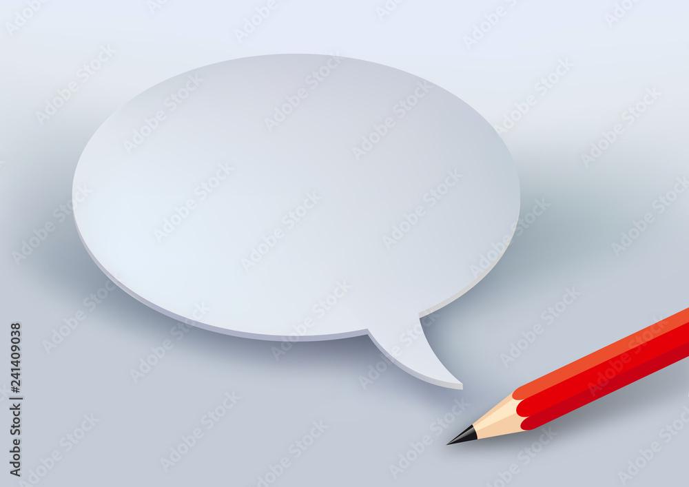 Fototapeta Concept du message avec une bulle de bande dessinée blanche et un crayon pour s'exprimer par écrit ou présenter une demande.