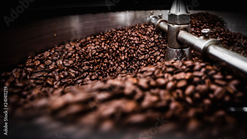 coffee roasting machine and brown coffee beans