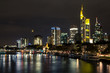 Night view of the business district of the city of Frankfurt am Main. Germany