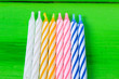canvas print picture - multicolored candles on bright background