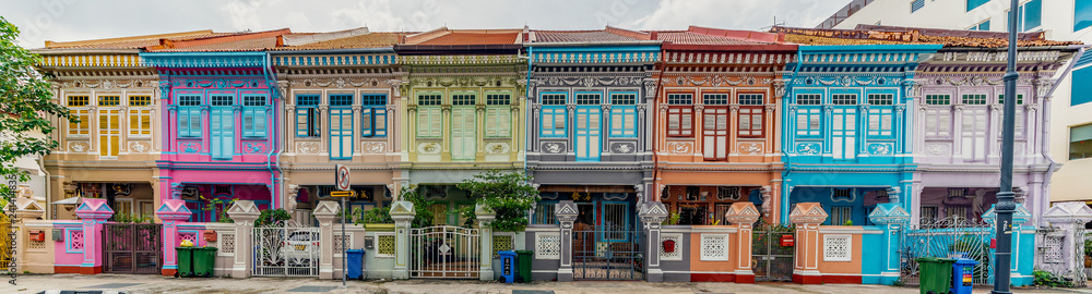 Fototapety, obrazy: Wide panorama image of Colorful Peranakan House at Katong, Singapore